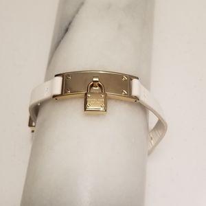 MICHAEL Michael Kors Leather White Gold Bracelet